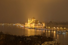 Golden Parliament (Alex LX) Tags: europe hungary capital city budapest buda pest golden hungarian parliament river duna dunay danube shore riverside water cityscape cityview architecture night dark noflash