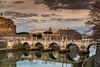 Castel and bridge Sant' Angelo - Roma (Bouhsina Photography) Tags: rome castel santangelo bouhsina bouhsinaphotography canon 2018 reflection plan arcs arche tibre nuage couché soleil