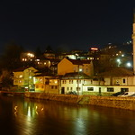 Sarajevo and Miljacka river by night thumbnail
