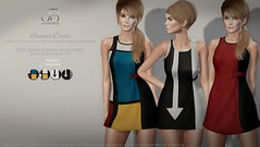 NEW! Brenda Dress - at Uber! (Just BECAUSE_SL) Tags: dress secondlife sl miniskirt sexy just because short color blocks arrow strap buttons hud uber event original mesh fatpack exclusives mod style 60s 1960s retro sleeveless