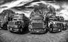 colorful trucks in...B&W ! (poupette1957) Tags: art atmosphère black canon city colors deco detail fishey grandangle graphisme imagesingulières landscape monochrome noiretblanc noir photographie rue street town travel truck urban ville voyage guatemala antigua