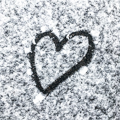 Heart Drawn In Snow (AlanOrganLRPS) Tags: iphone heart snow pavement coventry uk love