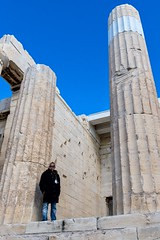 Watcher at the gate (jeremyhughes) Tags: athens greece parthenon acropolis watcher guard worker tourism sky architecture column classical historical temple ruins sunglasses shades sunnies coat winter nikon d750 nikkor 240700mmf28 240700mmf28g ancient