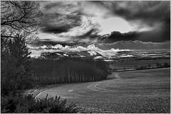 BW Gask to Craig Rossi_G5A5921 (ronniefleming@btinternet.com) Tags: landscape craigrossiauchterarder snow clouds dramatic snowcappedhills ronnieflemingph31fy canon5dmk111 trees hillside farm field bw blackandwhite