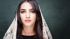 Nargis (Tommy Høyland) Tags: female veil hair beautiful portrait dark attentive covered beauty makeup cover scarf woman studio indoor coveredbeauty