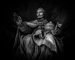 Popo Innocentius XI .....    Benedetto Odescalchi  Statue in St. Peter's Basilica Vatican City Rome (Daveyal_photostream) Tags: vatican pope catholic religion holy faith nikon nikor meandmygear mygearandme mycamerabag photoshop lightroom points blackandwhite blackandwhitephoto d600 lowlight art digitalart vaticanciti stpeters pointillism key church yourholyness blessed statue marblestatue popoinnocentiusxi benedettoodescalchi