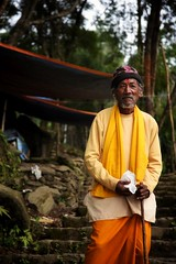 Another from my visit to Nepal. I crossed paths with this guy on the way to the Prithbinarayan Palace in Gorkha. Prithbinarayan was the Royal Palace to the first King and founder of modern Nepal. It serves as a temple to the goddess Kali, and she demands (Joe_Duddridge) Tags: nepal nepalese gorkha forest temple sacred goddess gods man closeup portrait 2015 face new newtoflickr flickr nikon nikonphotography nikond750 d750 nikond750photography