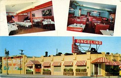 Angelino's Cafe, Compton, California (SwellMap) Tags: postcard vintage retro pc chrome 50s 60s sixties fifties roadside mid century populuxe atomic age nostalgia americana advertising cold war suburbia consumer baby boomer kitsch space design style googie architecture