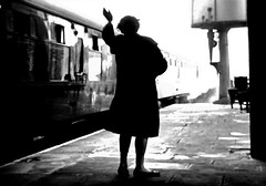 A Wave Goodbye. (ManOfYorkshire) Tags: 1960s 1950s britishrailways mk1 maroon stock coaching coach steam train engine locomotive depart departing wave waving goodbye woman nostalgia history watertower barrows platform railway trains