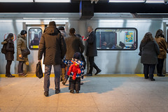 Little Commuter (cookedphotos) Tags: 2018inpictures toronto ontario canada ttc subway station stgeorge boy child kid elmo backpack dad father family 365project p3652018 streetphotography sesamestreet