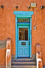 Blue Door (lorinleecary) Tags: doors newmexico santafe blue color lights reflection rustcolor sign steps stuccowall theartistseyes