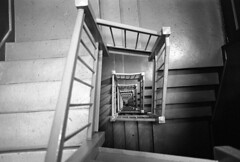 stairwell NYC (triebensee) Tags: koaktrix400 kodakhc110 dilutionh 163 epsonv700 selfdeveloped film nikon f2 nikkor 28mm f28 ais brooklyn