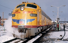 UP E9 units to the rescue - Cheyenne -- February 1975 (G Morris) Tags: up union pacific e9