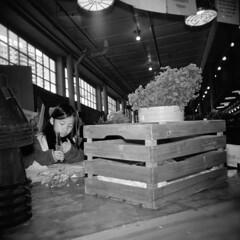Flower Girl (Kiyoumars Q. Karimi) Tags: flower seattle market girl young hplga ilford hp5 400 120 lomo lomography cutter potrait holga documentry street