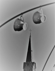 Cups of Theology (colourvein) Tags: cups theology spire bw blackandwhite germany wires leica hazy haze