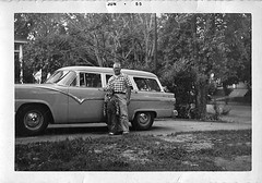 Brand New '55 Ford Station Wagon (ricko) Tags: film scan familyarchives father sister car old 1955 ford stationwagon bw