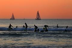 Surf class - Tel-Aviv beach - Follow me on Instagram:  @lior_leibler22 (Lior. L) Tags: surfclasstelavivbeach surf class telaviv beach sea sailboats sunset