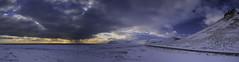 Looking Back (Gavmonster) Tags: gswphotogrpahy nikon d7500 nikond7500 iceland arnarstapi gatklettur snow sea sunset clouds sky panorama road mountain sunlight orange white blue