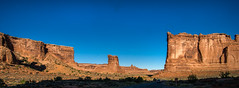 sheep rock (ctr) + tower of babel (courthouse towers) - Arches NP, Utah, USA (Russell Scott Images) Tags: courthousetowers archesnationalpark utah usa sheeprock towerofbabel russellscottimages