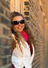 My Favorite Model (tquist24) Tags: elkhart hww indiana nikon nikond5300 wanda alley bokeh bricks city coat downtown geotagged girl gorgeous hair lady portrait pretty smile sunglasses wall winter woman unitedstates