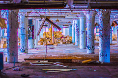 Olympia (SO HIPP) Tags: cafe graffiti abandoned stage london ontario factory candy sugar colour tint lightroom lofi photoshop orange black chair seat alone still scary spooky mess light long shot