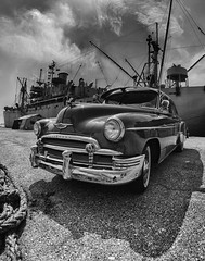 Chevy_34305hba.jpg (gpferd) Tags: antiquecar monochrome fisheye reflection ssjohnwbrown boat bw vehicle hdr clouds highdynamicrange libertyship baltimore maryland unitedstates us