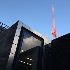 Red crane over New Street Square EC4 (John Wilder Photography) Tags: architecture modern blue sky cranes reflections iphone 6 red shadows cladding cityoflondon london developments square