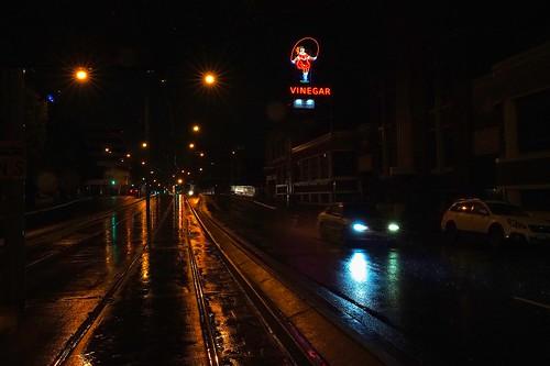 Skipping Girl on a rainy night