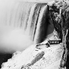 Horseshoe Falls in Winter (azhukau) Tags: waterfall nature water river landscape scenics falling outdoors famousplace rockobject power environment flowing stream niagarafalls nopeople beautyinnature flowingwater winter frozen ice monochrome blackandwhite horseshoe