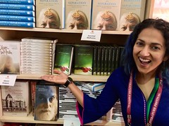 overjoyed at seeing my books at Full Circle Books (olive witch) Tags: 2018 abeerhoque books bookstore day india jaipur jan18 january jlf jlf18 me