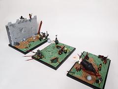 Triptych. God of War (Dwalin Forkbeard) Tags: lego art moc medieval battle siege artillery wall soldiers bang explosion