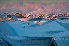 winter roof top sunrise (1DesertRose) Tags: roof travel home window view landscape canada snow houses edmonton alberta clouds sunrise scene fujifilm cold winter