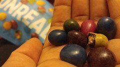 """UNREAL vegan peanut M&M's. Appropriately named, @unreal.snacks. The list keeps getting shorter and shorter of #foods that vegans """"can't"""" eat. They look like #skittles, but taste exactly like M&M's. #comfort food for all the wrong reasons, on a day when ev (vegansaladarity) Tags: sayinggoodbye veganeats veganfood chocolate foods vegancandy vegansofig goneforever veganchocolate veganfoodshare foodstagram andagain heartbroken foodshare foodphoto snack unreal peanut vegan food saturday comfort again mood skittles"""