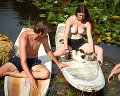 At the Pond 008 (C & R Driver-Burgess) Tags: ducklings teens boy girls preteen dog pond pool farm lily pad blossom water wet swim paddleboard skif overturn upset spil splash leaf sit hold head niece nephew boyfriend girlfriend son brother sister