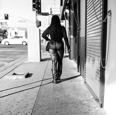 walking in stockings (gguillaumee) Tags: film analog grain square fujineopanacros rolleiflex street streetphotography woman walk resille stockings losangeles america usa