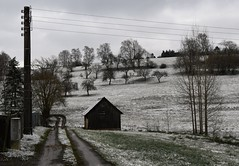 Can we call these colors COLORS??? (:Linda:) Tags: germany thuringia village bürden snow barn tree hill path powerpole baretree curvy