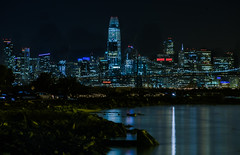 albert h. dewitt club (pbo31) Tags: bayarea california nikon d810 color february winter 2018 boury pbo31 alameda eastbay alamedacounty island night dark black sanfrancisco skyline salesforce 181fremont city urban baybridge bridge 80 reflection bay water blue