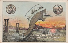 New York to San Francisco via the Panama Canal - 1915 (Aussie~mobs) Tags: 1915 postcard panamacanal opening route sailing occasion shipping shortest america usa
