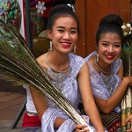 Thai People in Traditional Dress Waiting to Join the Chiang Mai Flower Festival Parade 178 thumbnail
