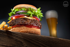 Hamburger & Beer (Food photography / Food styling) Tags: horizontal america american beef beefburger beefburgers beer bun burger cheeseburger cheeseburgerandfries cuisine designdairy dinner fastfood frenchfries fresh freshnes fries hamburger lunch meal resteurant sandwich