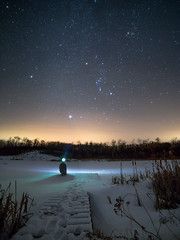 Orion (3 of 4) (jvneu) Tags: orion belt constellation hunter night sky astrophotography winter cold stars star manitoba canada snow tree forest lake ice pond