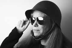 Kicki (*Lolly*) Tags: woman portrait bw blackandwhite 50mm canon europe indoor sweden sunglasses shades helmet