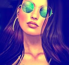 Blue Haze (Carla Putnam) Tags: hippie 60s retro blue blueglasses woman psychedelic sixties portrait artistic model littlebones zaara erratic larahurley lelutka fx art portraiture redhead digitalarttaiwan