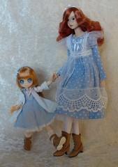 Look, we have matching boots!! (redmermaidwerewolf) Tags: momoko li fairy erunoe redhead ginger blue dress anne green gables ooak etsy doll freckles