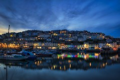 Brixham at blue hour (simondayuk) Tags: seascape landscape sea coast harbor harbour boats yachts sunset bluehour lights sky clouds brixham torbay devon reflections