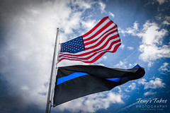 February 2, 2018 - Flags at half mast in honor of Deputy Heath Gumm. (Tony's Takes)