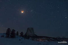 Eclipse at the Tower (kevin-palmer) Tags: devilstower devilstowernationalmonument wyoming nikond750 january winter snow snowy cold tamron2470mmf28 missouributtes fullmoon moon supermoon bluemoon lunareclipse totality red astronomy astrophotography night sky dark stars starry bloodmoon 2018 early morning beehivecluster m44 snowfall