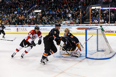 """Kansas City Mavericks vs. Cincinnati Cyclones, February 3, 2018, Silverstein Eye Centers Arena, Independence, Missouri.  Photo: © John Howe / Howe Creative Photography, all rights reserved 2018. • <a style=""""font-size:0.8em;"""" href=""""http://www.flickr.com/photos/134016632@N02/39220094945/"""" target=""""_blank"""">View on Flickr</a>"""