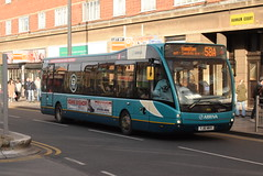 AMN 2955 @ Leicester Haymarket bus station (ianjpoole) Tags: arriva midlands optare versa v1100 yj61mhy 2955 working route 58a humberstone gate leicester hamilton tesco
