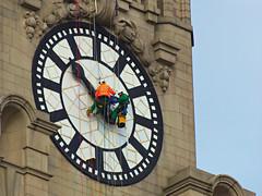 Tough Job (teresue) Tags: 2017 uk england greatbritain merseyside liverpool royalliverbuilding liverbuilding publicclock clock pierhead